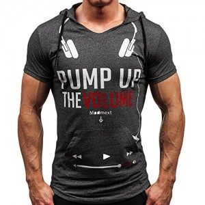 CHIC-CHIC-Homme-T-shirt-Haut--Capuche-Maillot-Courtes-Manches-Casual-Sport-Jogging-Athletic-Gym-Fitness-Musculation-FR48-50-Fonc-gris-0