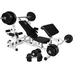 Banc-de-musculation-universel-GS005-Set-haltres-disques-plastiques-et-Barres-100kg-0