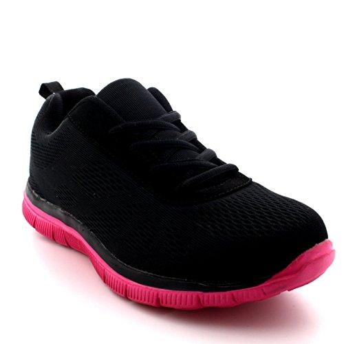 Uk5eu38 Walk Engrener Femmes Go Chaussures Get – Run Bs0069 Noirfuschia Sport Gym Fit Formateurs Athlétique FluK351TJc