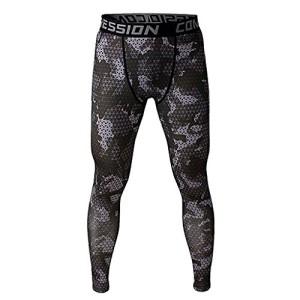 Pantalon-de-Sport-Homme-Legging-de-Compression-Disco-Vtement-Haute-lasticit-Gris-M-0