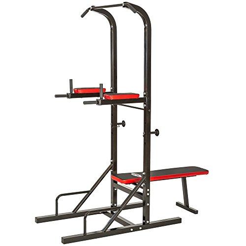 Achat tectake station de musculation multifonction dips - Banc de musculation avec barre de traction ...