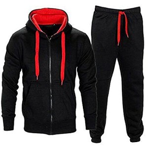 Juicy-Trendz-Hommes-Athletic-Long-Selves-Polaire-Zip-complet-Gant-de-survtement-Jogging-Set-Vtements-actifs-BlackRed-S-0