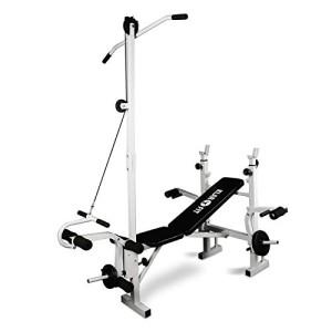 Klarfit-Banc-de-Musculation-Complet-Appareil-Muscu-Abdominaux-Pectoraux-FessierDos-Bras-Jambes-avec-Curler-Blanc-0