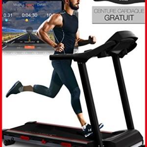 Sportstech-Tapis-de-Course-F31-Commande-par-Application-Smartphone-cardiofrquencemtre-Haut-Parleur-Bluetooth-MP3-4-CV-16-KMH-autolubrification-12-Programmes-dentranement-Fonction-FCM-0