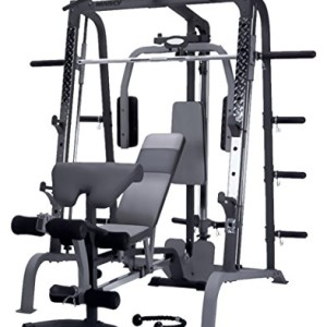 Marcy-DELUXE-SMITH-SM4000-Multistation-Extremement-robuste-Butterfly-Repose-pieds-anti-drapage-6-range-disques-Barre-coude-Corde--triceps-barre-courte-chevillire-Banc-Amovibles-0