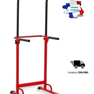 PullUp-Fitness-Barre-de-Traction-Ajustable-Station-Musculation-Dips-Station-Chaise-Romaine-Rouge-0