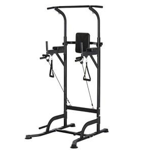 Station-de-Traction-Musculation-Multifonctions-Chaise-Romaine-Hauteur-rglable-Acier-Noir-Neuf-56-0