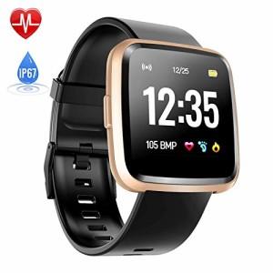 Montre-Connecte-Cardiofrquencemtre-Hommie-Bracelet-Connect-Podomtre-GPS-Fitness-Tracker-dActivit-Tension-Artrielle-Oxymtre-Smartwatch-Sport-Femme-Homme-tanche-IP67-pour-Android-iOS-Or-0